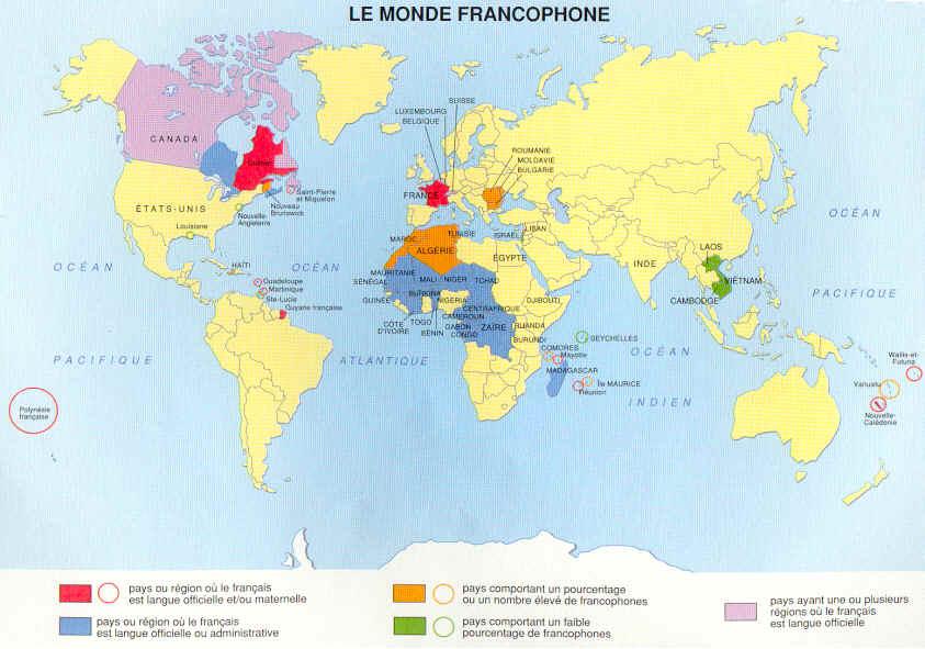 Mappa paesi francofoni